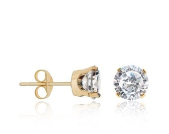 10kt solid yellow gold round cubic zirconia c.z studs earrings - 10 karat yellow gold studs earrings - several stone size available