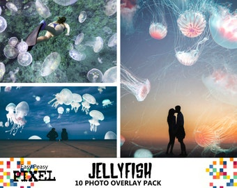 JELLYFISH OVERLAYS, Photoshop Overlays, Photoshop Overlay, Sea Overlays, Animal Overlays, Nature Overlays, JELLYFISH