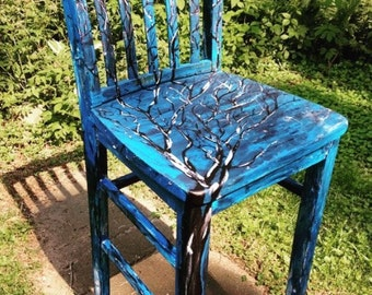 Hand Painted Decorative Tree Chair