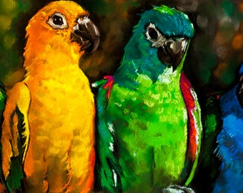 Beautiful multicolored parrots.Instant download.JPG and TIFF files for printing an original pastel painting.