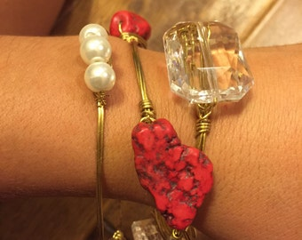 Red Nugget Bangle Bracelet