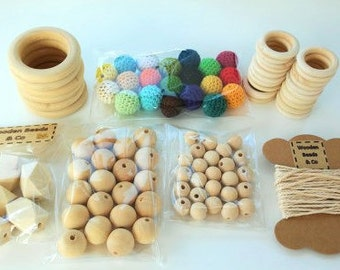 KIT beads crochet 96 parts - Crocheted Beads KIT 96 pieces-wooden beads without finishing-crochet-Wooden beads rings