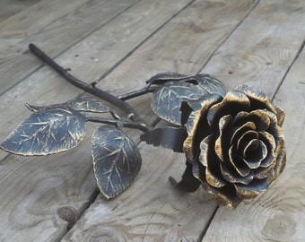 Forged metal rose, Steel rose, Iron flower, Metal sculpture, Wrought iron, 11th Anniversary gift, Valentine's Day gift
