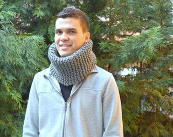 Hand Knitted cowl, Knit Neck Warmer, Hand Knit Scarf hand knit collar  chunky scarf winter accessory soft warm scarf, gift for him valentine