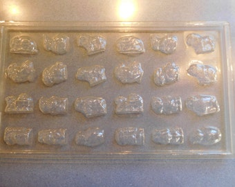 Sheet of 24 Bite Size Miniatures Assorted Animals (Easter) Vintage Plastic Candy Mold