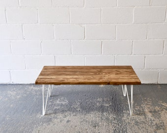 Industrial Coffee Table Reclaimed Wood Rustic Vintage Scaffold Wood Table Rustic Furniture COLOURED Steel Hairpin legs Bespoke Table