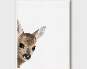 Printable Kids Gift, Deer Print, Fawn Baby Deer, Forest Animal Printable, Kids Wall Art, Woodlands Decor, Nursery Printable, Printable Art