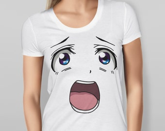 Womens White Anime Face T-shirt  Features print of Shocked anime face