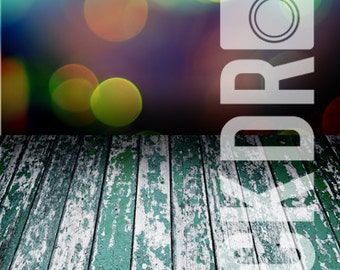 Forced Perspective Photography Backdrop - Green Bokeh & Wood Floor - 5'x10'