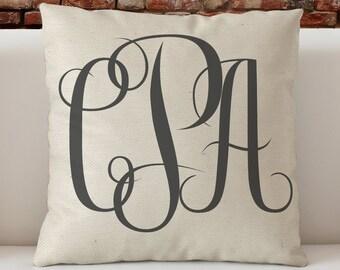 "Monogram Custom Throw Pillow,  large monogram, Decorative Pillow 18""x18"""