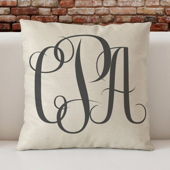 Decorative Monogram Pillow : Monogram Custom Throw Pillow large monogram Decorative