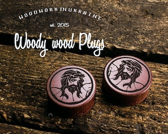 Jesus Plugs - Jesus christ plugs - ear plugs - wooden plugs - wood plugs - custom plugs - ear gauges - ear tunnels - piercing plugs