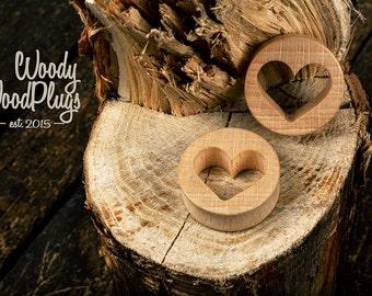 Plugs with hearts - wood plugs heart-  wood ear tunnels - wood ear plugs - plugs- St Valentines  plugs - ear gauges - wooden ear tunnels