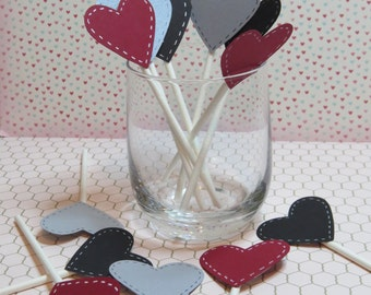 """Wedding Cupcake Toppers """"Hearts with Stitches"""" (12) Stampin'Up!"""