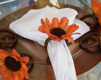 Orange Blackeyed Susans Napkin Rings