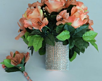 Peach Bouquet and Bout. Set