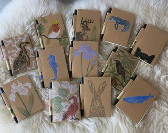 Cute recycled pocket notebooks/hand printed/with eco pen attached/botanical  and animal prints/eco-friendly /stationery lovers gifts