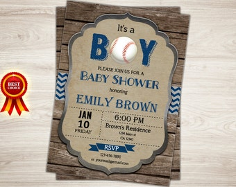 Baseball baby shower invitation - Rustic baseball baby shower invite - Wood Blue Boy Baby Shower Invitation Sports printable Invitation
