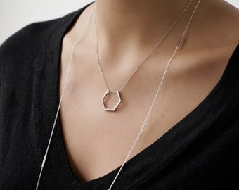 Minimal necklace- - Hexagon necklace-Geometry necklace -Dainty necklace - Minimalist jewelry - Minimalist necklace