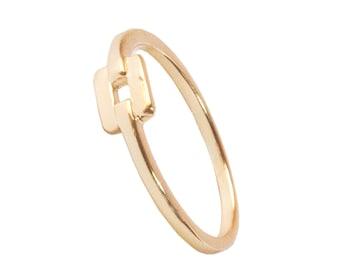 Square ring - Geometric ring - Tiny ring - Minimal ring - Minimal jewelry - Dainty ring - Dainty Jewelry