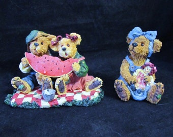 """Boyds Bears The Bearstone Collection """" Sally Quignapple w/ Arnie and Buster & Melonie McRind """" Figurines"""