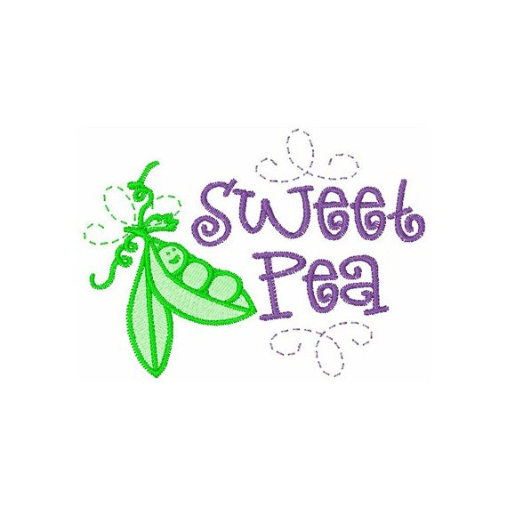 Embroidery Patterns - 8x8 In The Hoop Sweet Pea