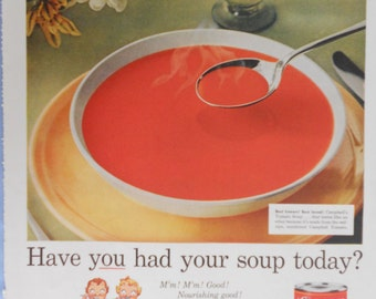 1958 Campbell's Tomato Soup ad.  Campbell's Soup ad.  Campbell's Soup kids.