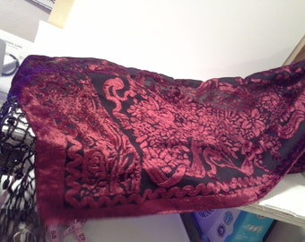 Very berry red....Katherine's Collection velvet beaded scarf or table runner