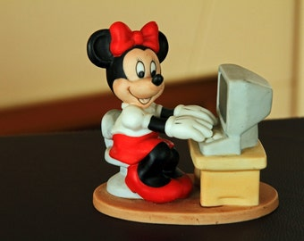 Minnie Mouse at the Computer - ceramic figurine
