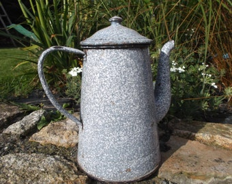 speckled enamel coffee pot, country style - french campaign enamelled kettle