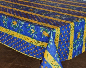French Tablecloth Provence CIGALE BLUE Rectangle   French Oilcloth Fabric  Indoor Outdoor Tablecloths   Matching Cotton