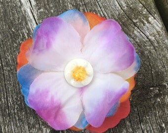 Handmade brooch fabric buttons beads festival jewellery fashion flowers