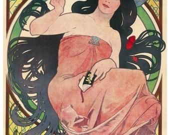 Vintage Job Cigarette French Advertising Poster Print