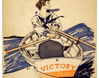 Vintage Victory Girls Pulling Boat War Poster Print