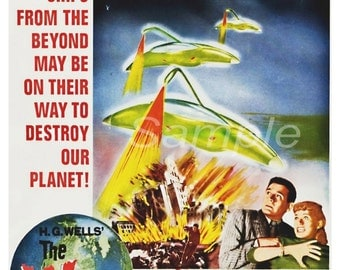 Vintage War of the Worlds H G Wells Movie Poster Print