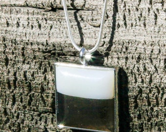 petrified wood/obsidian combined square white over black