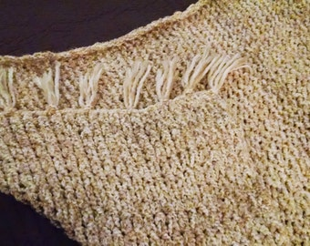 Rustic Hand Knit Afghan Throw