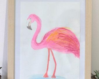 Flamingo pink - gouache