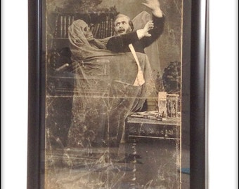 Aged reproduction print of a ghost harassing a Victorian fellow.