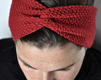 Fine Merino 100% natural for woman or child 10cm red wool turban headband