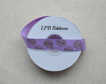 "7/8"" Heliotrope grosgrain ribbon with gold foil roses, Heliotrope ribbon, US Designer ribbon, Grosgrain ribbon"