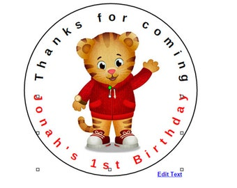 "12 Daniel Tiger 2.5"" Birthday Party Favor Stickers Labels Personalized actual labels not file Free shipping"