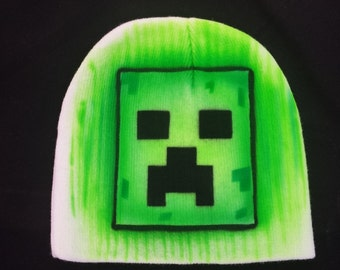 Airbrushed Minecraft Creeper Beanie Hat
