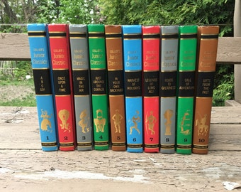 VINTAGE Bundle of Books Book Set 10 Hardbacks Collier's Junior Classics Bookshelf Filler - library readymade Red Green Grey Blue Brown