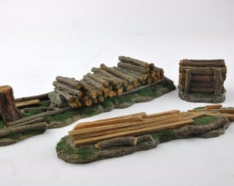Pile of Logs  Stump Tree  Trunks  Forest  Resin Gameboard  Diorama  Painted Scenery Terrain
