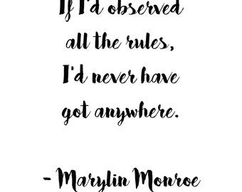 Marilyn Monroe Quote Print Digital File Instant Download