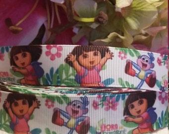 3 yards,  7/8' grosgrain ribbon Dora the explorer design