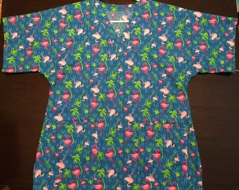 Flamingo Scrub Top - Size Medium