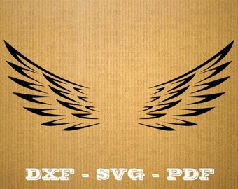 Format .dxf Angel wing - CNC cutting file - Vector vinyl - DXF SVG Pdf file - cricut