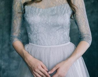 "Wedding dress ""Grey Quartz"" | Light blue grey alternative non traditional colored bridal gown 3\4 sleeve soft tulle lace modern bohemian"